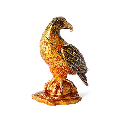 QIFU Eagle Series Trinket Box Hand Painted Hinged Animal Collectible Figurine with Rich Enamel and Sparkling Rhinestones