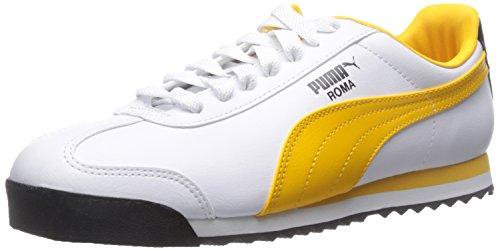 PUMA Herren Roma Basic Sneaker Weiß / Gold Fusion / Blau