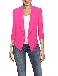 Hybrid & Company Womens Casual Work Office Open Front Blazer JK1133 NEON Pink Medium