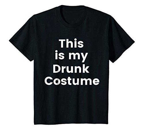 Kids Drunk Costume Shirt - Cheap Halloween Costume Party Tee 4 Black -
