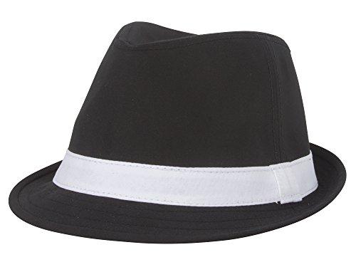 Fashion Caps Polyester Tall Fedora w/White Band - Black - Large/X-Large -