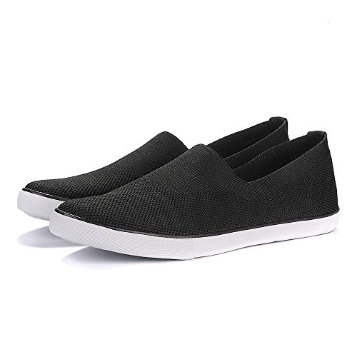 Flat Men Casual Shoes - Men's Canvas Flats Casual Walking Shoes Lightweight Air-Permeable Mesh Flying Weaving Leisure Shoes Black
