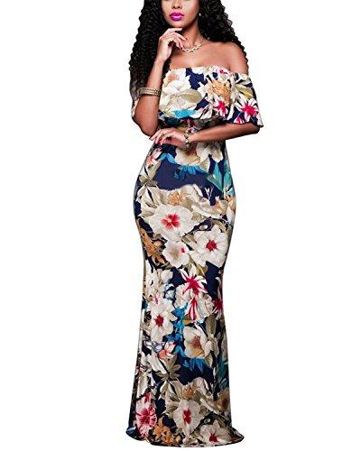 Dress Floral Beige Women's BIUBIU Bodycon Maxi Thickened 3XL Elegant Shoulder S Party Off wZExTq8E