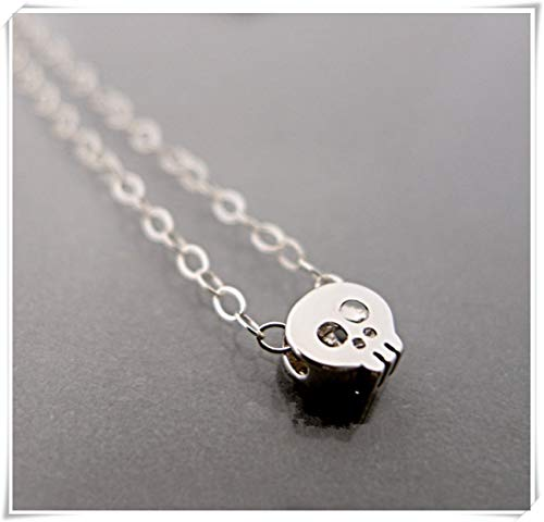 Dandelion Tiny Skull Necklace, Sugar Skull Necklace, Dainty Mini Charm Pendant, ()