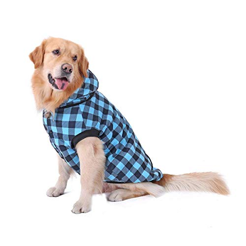 PAWZ Road Dog Plaid Shirt Coat Hoodie Pet Winter Clothes Warm and Soft for Medium and Large Dog Blue XL