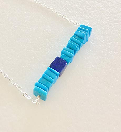 Turquoise Bar Necklace, Genuine Turquoise Heishi Beads, Blue Lapis Lazuli Nugget, December Birthstone, Gemstone Bar Necklace, Sterling Silver. ()