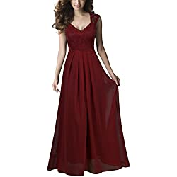 REPHYLLIS Women Sexy Vintage Party Wedding Bridesmaid Formal Cocktail Dress(L,Burgundy)