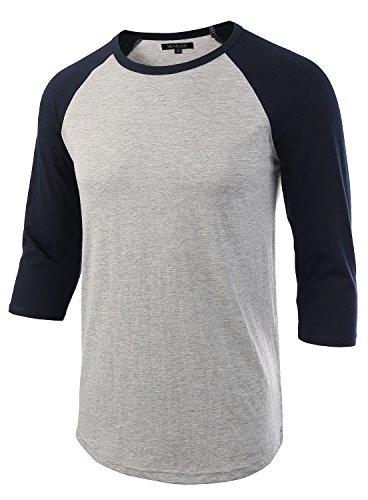 HETHCODE Men s Casual Raglan Fit Soft Baseball 3/4 Sleeve Jersey T-Shirts Tee H.Gray/Navy XL