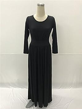 SZY Otoño e invierno ráfagas de manga larga redonda collar más el vestido de noche atractivo
