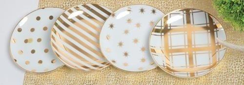 8 Oak Lane White Gold Polka Dot Stripes Appetizer Plates (set/4)