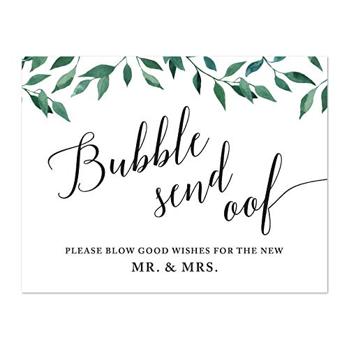 Andaz Press Wedding Party Signs, Natural Greenery Green Leaves, 8.5x11-inch, Bubble Send Off Please Blow Good Wishes for The New Mr. & Mrs. Sign, 1-Pack (Best Wishes For Send Off)