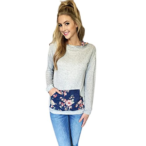 Price comparison product image AMA(TM) Women Floral Print Hoodie Sweatshirt Pocket Hooded Pullover Tops Blouse (Large,  Blue)