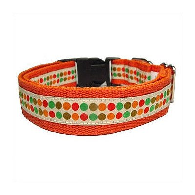 Doggy Dots Cotton Dog Collar Size: Small