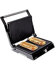 Mellerware - Hotty! Elektrische grill   2200 W   anti-aanbaklaag   LED temperatuurregelaar   opening 180 °   aanpasbare platen   29 x 46 cm   roestvrij stalen grill   PFOA-vrij