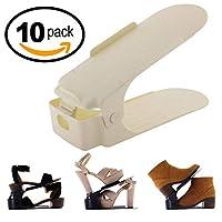 Zapatera Ajustable De Plastico Organizador De Zapatos Ahorra Espacio 10 Piezas (Chocolate)