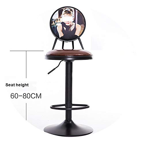 - Antique European Style 60-80cm Height Adjustable Swivel Bar Chair Stool Iron Art Soft Cushion High Footstool Rotatable Backrest,R