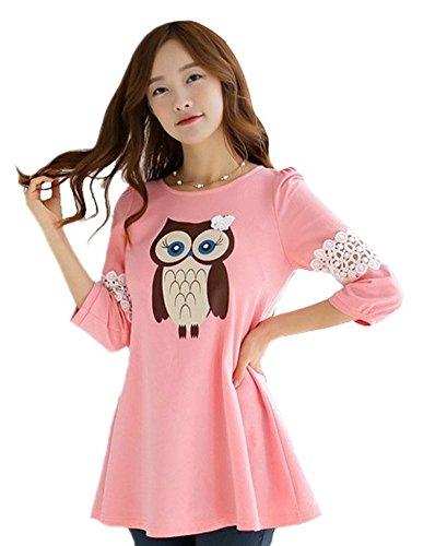 Owl Slim T-shirt (Demarkt New Womens Blouse Owl Print Pullover Top T-shirt Short Skirt Asia Size (L, pink))