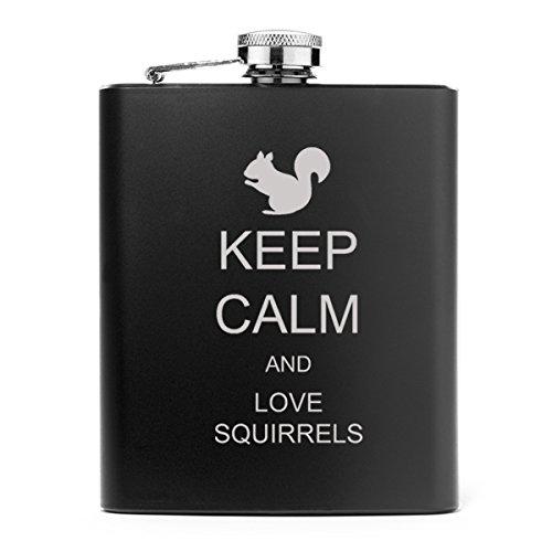 【楽天ランキング1位】 7オンスステンレススチールヒップフラスコKeep B013FAMK5O Calm and and Love Squirrels ブラック Love ブラック B013FAMK5O, Select shop ams:bd3581c6 --- newtutor.officeporto.com