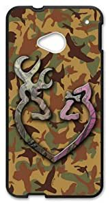 LILICHEN Browning Cutter Logo Camo Case Cover for HTC One M7 (Laser Technology) -- Design By LILICHEN