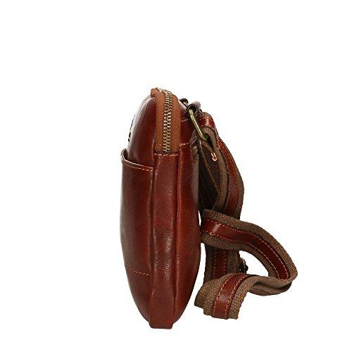 Hombro Made de cuero auténtico Marrón Aren Cm Italy 16x18x4 hombre del bolsa in dIwxqwTF06