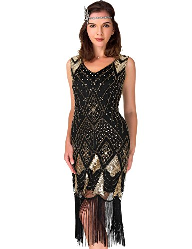 Women's Cocktail 1920s Dresses - Gatsby Sequin Art Deco Flapper Dress(XL,Black Gold)