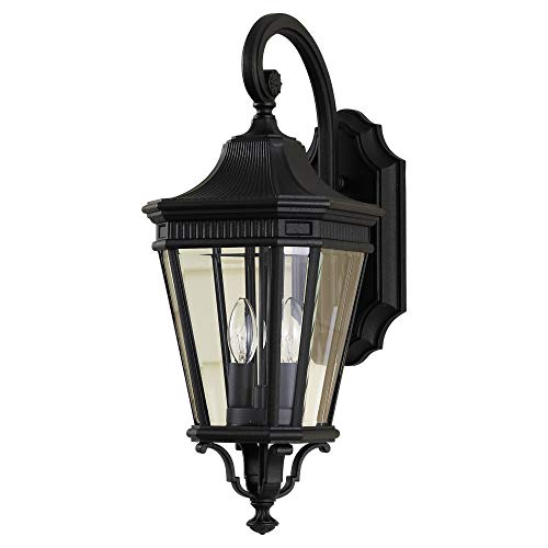 Feiss OL5401BK Cotswold Lane Outdoor Patio Lighting Wall Lantern, Black, 2-Light (9
