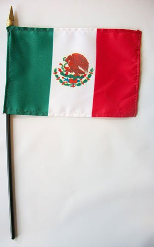 "Annin Mexico - 4"" X 6"" World Stick Flag Made in USA By"