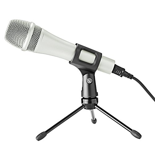 Neewer Wired Handheld Vocal Dynamic Microphone for Windows and Mac with Microphone Clip, USB Cable, Mini Desktop Tripod Stand, 3/8