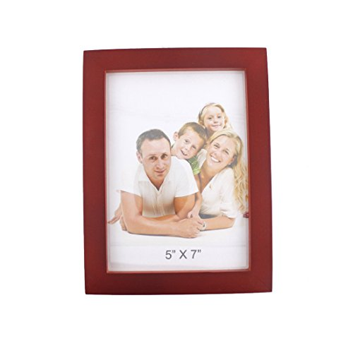 Classic Rectangular Wood Desktop Family Picture Photo Frame with Glass Front (Dark Red, 5x7) Christmas Vacation Clip