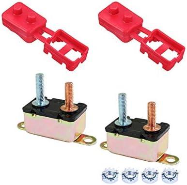 WANGZHI 30A / 40A / 50A Sicherungsautomat kann Überstromschutz 12VDC Auto / 2-Pack wiederherstellen (Color : 2 Pieces of 30A+2 Leather Cases)