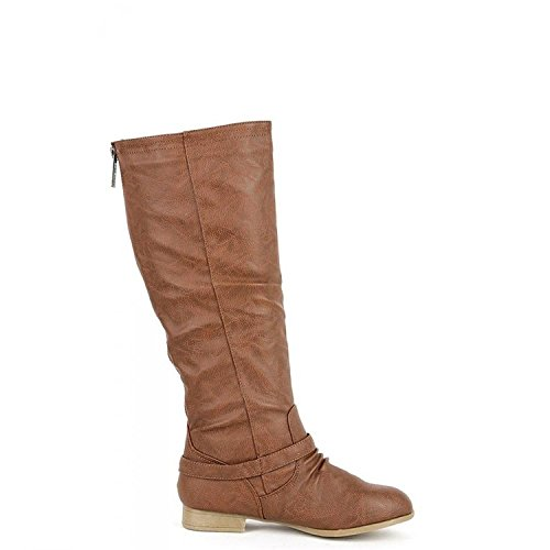 1 Tan Knee Riding Top COCO Women's High Boot Moda zqxRHUwRt