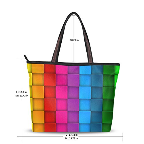 Bennigiry Rainbow Large Neon Colorful Satchel Contrast Bag Bags for Women Tote Shoulder Handbags Messenger Ladies 01Rrqx50w