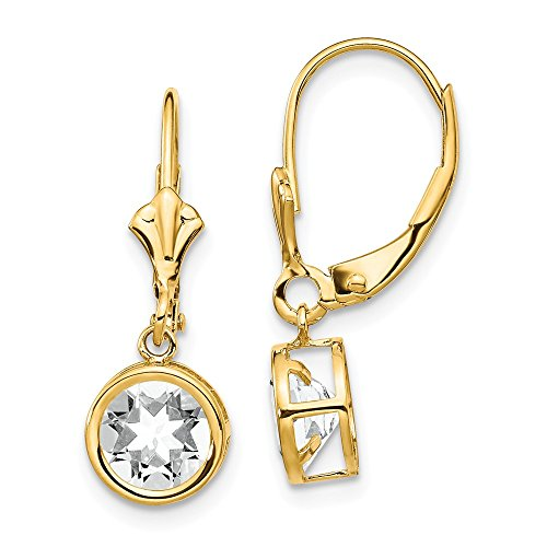 14k Yellow Gold 6mm Cubic Zirconia Leverback Earrings Lever Back Drop Dangle Gemstone Bezel Fine Jewelry Gifts For Women For Her