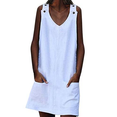 URIBAKE ♥️ Women Casual Solid Tank Dress V Neck Button Strap Sleeveless Linen Plain Mini Dresses with Pockets White