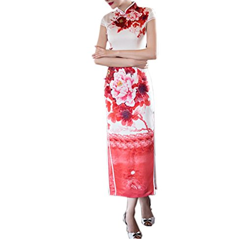 Luck Femme Longue Robe Chinois Asiatique Robe Souple Manche Courte Motif Fleur en Polyester Blanc+Rouge