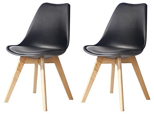 Creation Yusheng Eames Style Soft Padded Seat Dining Chair Set of 2, Modern and Body Engineering Design Chairs with Wooden Leg, Black For Sale
