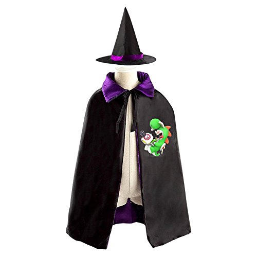 Rabbid Yoshi Halloween Costumes Decoration Cosplay Witch Cloak with Hat (Black)