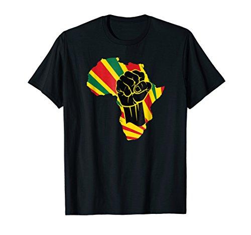 Mens Africa Black Power Africa Map Fist African T-Shirt XL Black (Africa Map T-shirt)