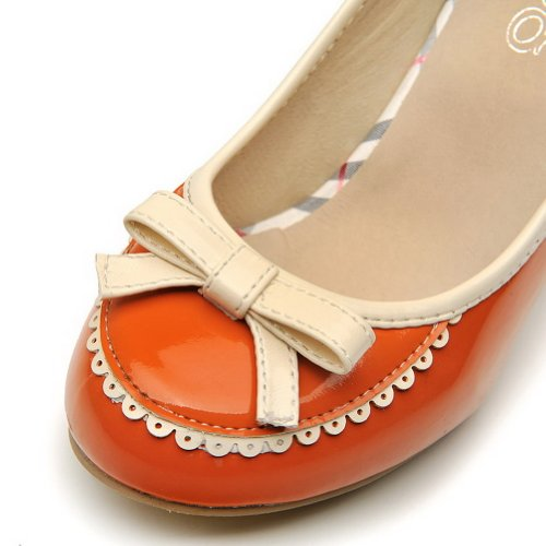 Assorted Orange Shoes Colors Chunky and Toe Heels Toe AmoonyFashion Heels Kitten Closed Pump Womens Round With Zqfxgpv