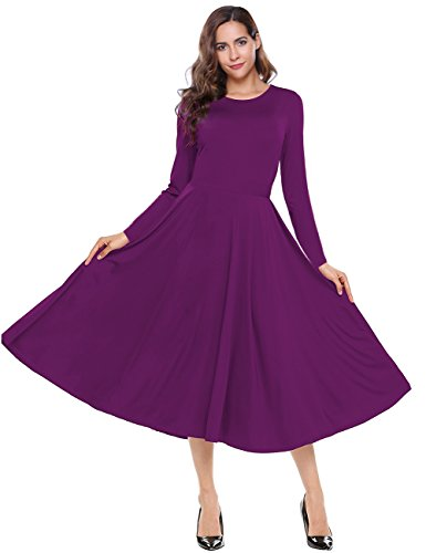 Leadingstar Women's Long Sleeve A-Line Swing Midi Fit and Flare Casual Dress (L, Purple)