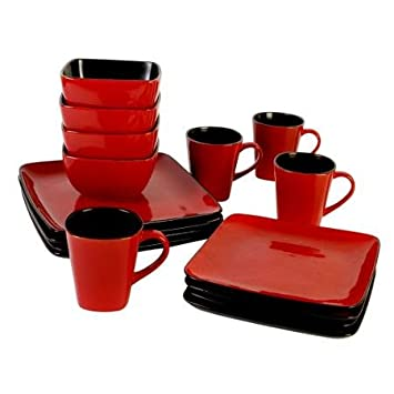 Amazon.com | Better Homes and Gardens Rave 16-Piece Square Dinnerware Set Red Dinnerware Sets  sc 1 st  Amazon.com & Amazon.com | Better Homes and Gardens Rave 16-Piece Square ...