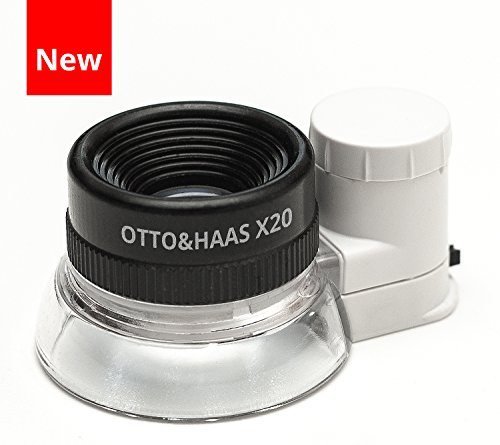 Otto&Haas LED Lighted 20X Jewelers Loupe Magnifier with Illuminated Triplet Loop Magnifying Glass