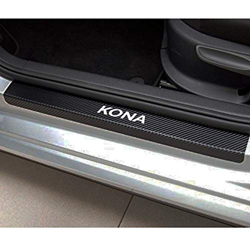 99corhomo Carbon Fiber Vinyl Door Sticker Car Window Protector Plate Wear for Hyundai Kona Car Accessories ()