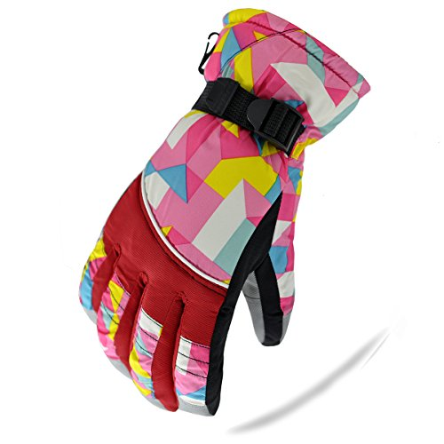KINEED Waterproof Windproof Girls Youth Winter Ski Skiing Snow Snowboard Riding Warm Gloves Large Red