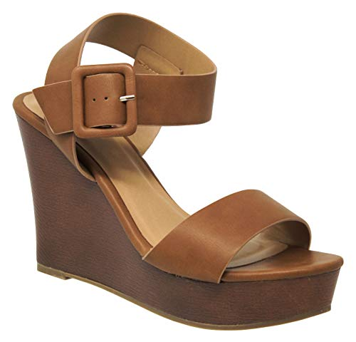 MVE Shoes Women's Open Toe High Heel Wood Platform Sandals, Compact TAN PU 11