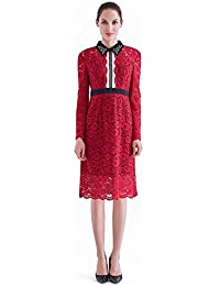 France CG Women's Long Sleeve Lace Floral Elegant Midi Dress Pan Collar Flare Dress 882C025