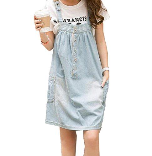 Winwinus Women's Pockets Denim Fashion Loose Bib Dress Party Dress Light Blue S