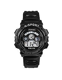 Baishitop Men Digital LED Watch, Waterproof Watches,With Sports Quartz Alarm Date(Black)