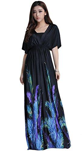 Mordenmiss Women's Floor Length Beach Party Maxi Dress XL Black