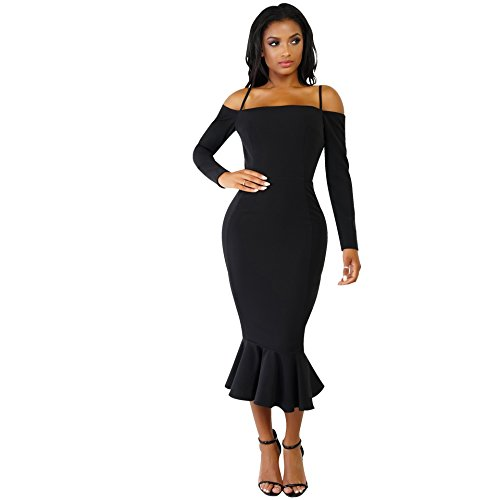 long black fitted evening dress - 8
